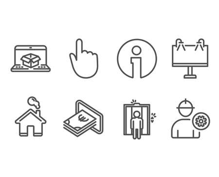 Set of Cash, Hand click and Road banner icons. Elevator, Online delivery and Engineer signs. Atm payment, Location pointer, Advertisement. Lift, Parcel tracking website, Worker with cogwheel. Vector