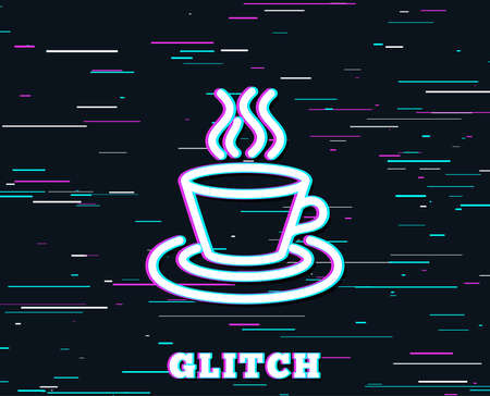 Glitch effect. Tea or Coffee line icon. Hot drink sign. Fresh beverage symbol. Background with colored lines. Vector