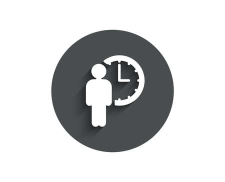 Person waiting simple icon. Service time sign. Clock symbol. Circle flat button with shadow. Vector