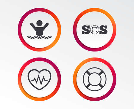SOS lifebuoy icon. Heartbeat cardiogram symbol. Swimming sign. Man drowns. Infographic design buttons. Circle templates. Vector