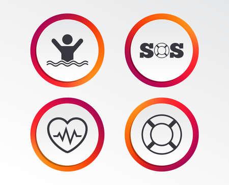 SOS Rettungsring Symbol. Herzschlag-Kardiogramm-Symbol. Schwimmschild. Mann ertrinkt. Infografik Design-Schaltflächen. Kreisvorlagen. Vektor