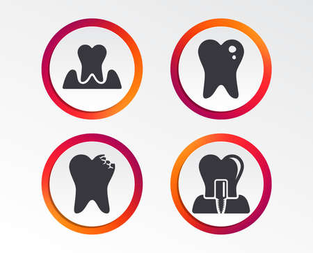 Dental care icons. Caries tooth sign. Tooth endosseous implant symbol. Parodontosis gingivitis sign. Infographic design buttons. Circle templates. Vector