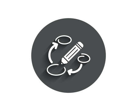 Keywords simple icon. Pencil symbol. Marketing strategy sign. Circle flat button with shadow. Vector