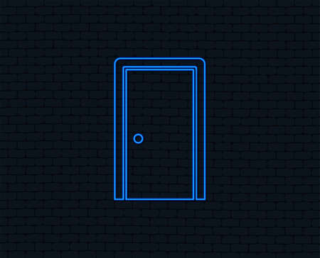 Neon light. Door sign icon. Enter or exit symbol. Internal door. Glowing graphic design. Brick wall. Vector Vectores