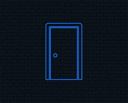 Neon light. Door sign icon. Enter or exit symbol. Internal door. Glowing graphic design. Brick wall. Vector Illustration