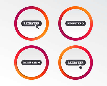 Register with hand pointer icon. Mouse cursor symbol. Membership sign. Infographic design buttons. Circle templates. Vector