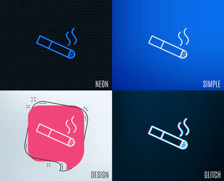 Glitch, Neon effect. Smoking area line icon. Cigarette sign. Smokers zone symbol. Trendy flat geometric designs. Vector