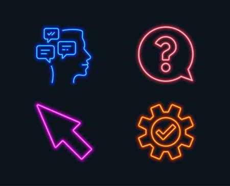Neon lights. Set of Mouse cursor, Question mark and Messages icons. Service sign. Click arrow, Help support, Notifications. Cogwheel gear.  Glowing graphic designs. Vector