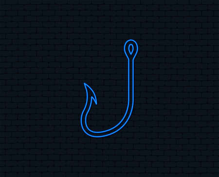 Neon light. Fishing hook sign icon. Fishermen tackle symbol. Glowing graphic design. Brick wall. Vector