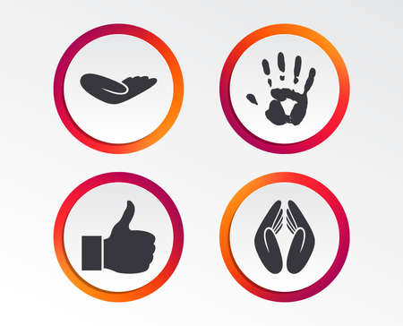 Hand icons. Like thumb up symbol. Insurance protection sign. Human helping donation hand. Prayer hands. Infographic design buttons. Circle templates. Vector