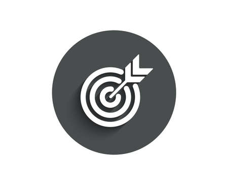 Target simple icon. Marketing targeting strategy symbol. Aim with arrows sign. Circle flat button with shadow. Vector