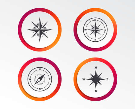 Windrose navigation icons. Compass symbols. Coordinate system sign. Infographic design buttons. Circle templates. Vector Standard-Bild - 101832198