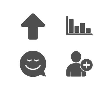 Set of Smile, Upload and Histogram icons. Add user sign. Chat emotion, Load arrowhead, Economic trend. Profile settings.  Quality design elements. Classic style. Vector Иллюстрация
