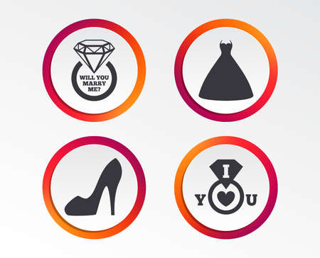 Wedding dress icon. Womens shoe symbol. Wedding or engagement day ring with diamond sign. Will you marry me? Infographic design buttons. Circle templates. Vector