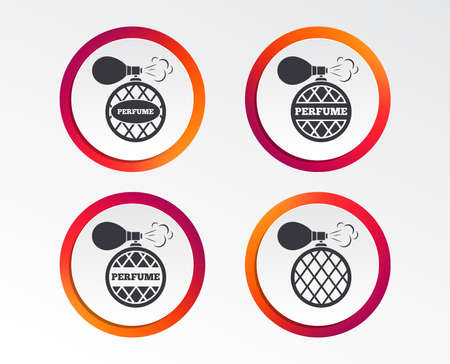 Perfume bottle icons. Glamour fragrance sign symbols. Infographic design buttons. Circle templates. Vector