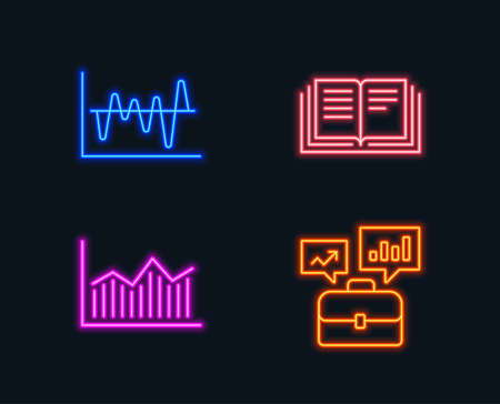 Neon lights. Set of Stock analysis, Money diagram and Education icons. Business portfolio sign. Business trade, Currency diagram, Instruction book. Job interview.  Glowing graphic designs. Vector