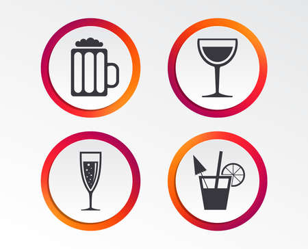 Alcoholic drinks icons. Champagne sparkling wine with bubbles and beer symbols. Wine glass and cocktail signs. Infographic design buttons. Circle templates. Vector