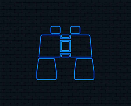 Neon light. Binocular sign icon. Search symbol. Find information. Glowing graphic design. Brick wall. Vector