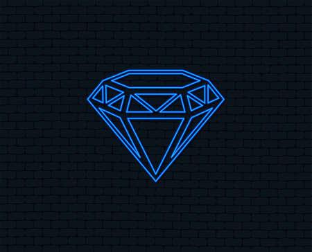 Neon light. Diamond sign icon. Jewelry symbol. Gem stone. Glowing graphic design. Brick wall. Vector