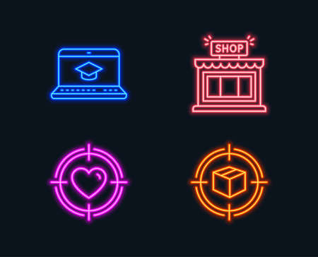 Neon lights. Set of Website education, Shop and Valentine target icons. Parcel tracking sign. Video learning, Store, Heart in aim. Box in target.  Glowing graphic designs. Vector Stock Illustratie