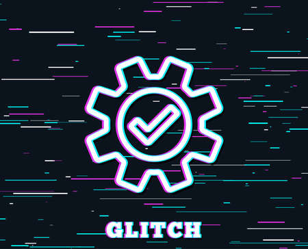 Glitch effect. Cogwheel line icon. Approved Service sign. Transmission Rotation Mechanism symbol. Background with colored lines. Vector