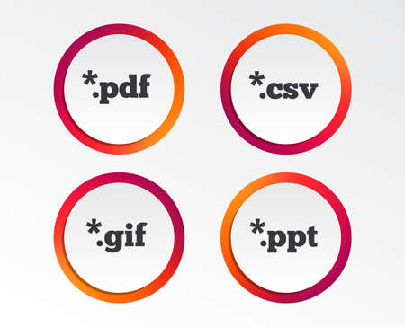 Document icons. File extensions symbols. PDF, GIF, CSV and PPT presentation signs. Infographic design buttons. Circle templates. Vector