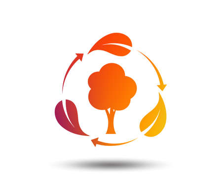 Fresh air sign icon. Forest tree with leaves symbol. Blurred gradient design element. Vivid graphic flat icon. Vector