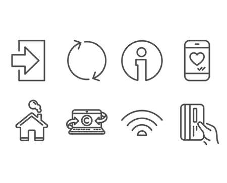 Set of Love chat, Wifi and Copywriting notebook icons. Refresh, Login and Payment card signs. Smartphone, Wi-fi internet, Writer laptop. Rotation, Sign in, Credit card. Vector
