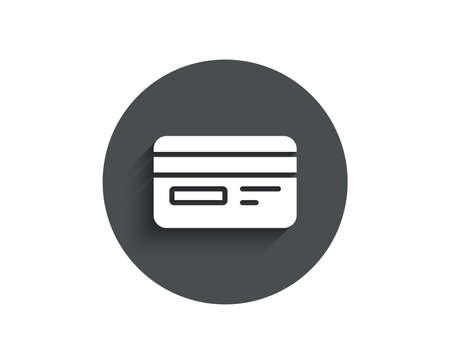 Credit card simple icon. Bank payment method sign. Online Shopping symbol. Circle flat button with shadow. Vector