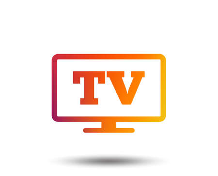 Widescreen TV sign icon. Television set symbol. Blurred gradient design element. Vivid graphic flat icon. Vector  イラスト・ベクター素材