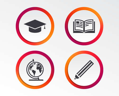 Pencil and open book icons. Graduation cap and geography globe symbols. Education learn signs. Infographic design buttons. Circle templates. Vector 向量圖像