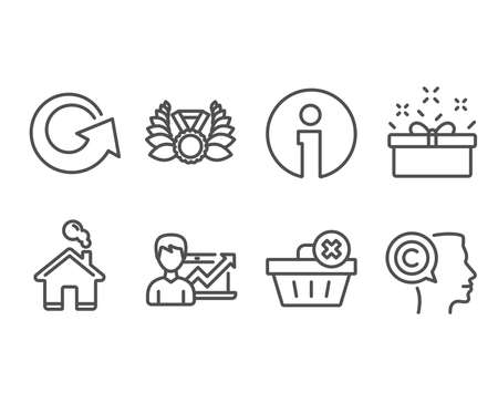 Set of Delete order, Laureate medal and Success business icons. Reload, Present box and Writer signs. Clean basket, Laurel wreath, Growth chart. Update, Sale offer, Copyrighter. Vector