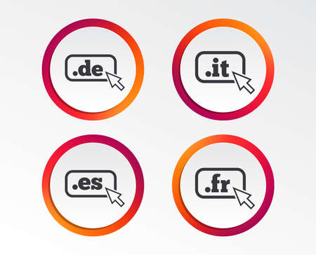 Top-level internet domain icons. De, It, Es and Fr symbols with cursor pointer. Unique national DNS names. Infographic design buttons. Circle templates. Vector