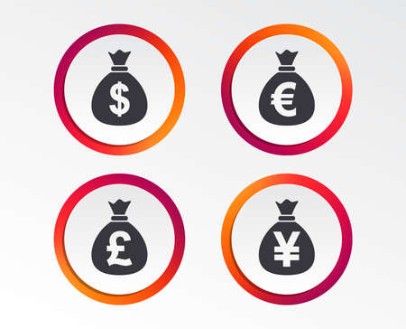 Money bag icons. Dollar, Euro, Pound and Yen symbols. USD, EUR, GBP and JPY currency signs. Infographic design buttons. Circle templates. Vector