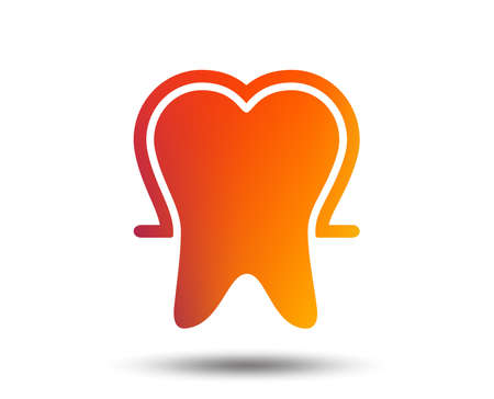 Tooth enamel protection sign icon. Dental toothpaste care symbol. Healthy teeth. Blurred gradient design element. Vivid graphic flat icon. Vector