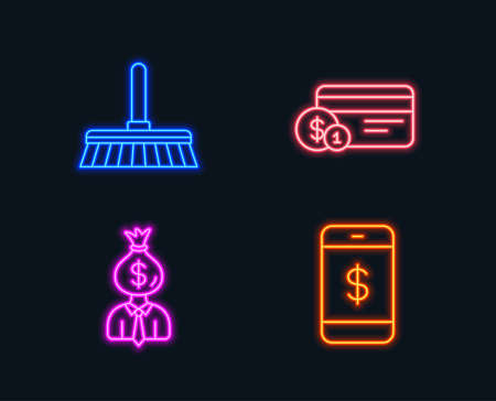 Neon lights. Set of Cleaning mop, Payment method and Manager icons. Smartphone payment sign. Sweep a floor, Work profit, Mobile pay.  Glowing graphic designs. Vector  イラスト・ベクター素材