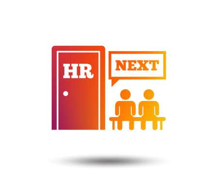 Human resources sign icon. Queue at the HR door symbol. Workforce of business organization. Blurred gradient design element. Vivid graphic flat icon. Vector