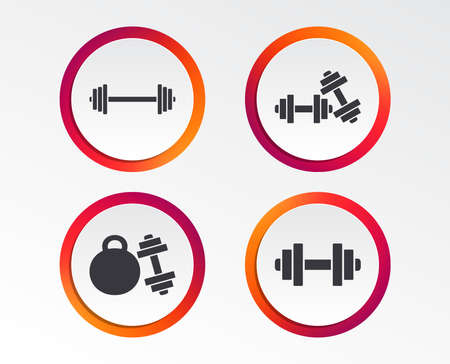 Dumbbells sign icons. Fitness sport symbols. Gym workout equipment. Infographic design buttons. Circle templates. Vector Çizim