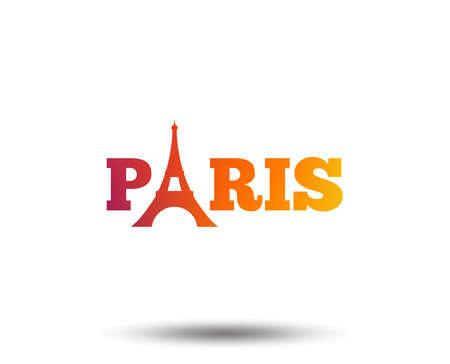 Eiffel tower icon. Paris symbol. Blurred gradient design element. Vivid graphic flat icon. Vector Ilustracja
