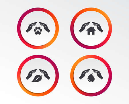 Hands insurance icons. Shelter for pets dogs symbol. Save water drop symbol. House property insurance sign. Infographic design buttons. Circle templates. Vector
