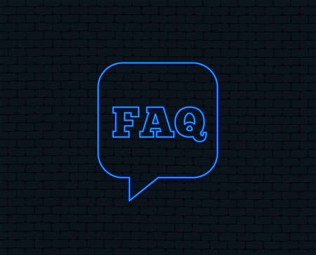 Neon light. FAQ information sign icon. Help speech bubble symbol. Glowing graphic design. Brick wall. Vector