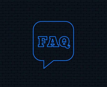 Neon light. FAQ information sign icon. Help speech bubble symbol. Glowing graphic design. Brick wall. Vector