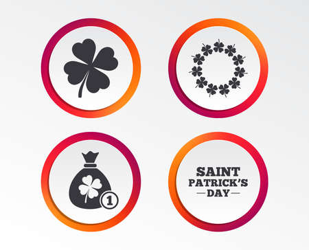 Saint Patrick day icons. Money bag with coin and clover sign. Wreath of quatrefoil clovers. Symbol of good luck. Infographic design buttons. Circle templates. Vector