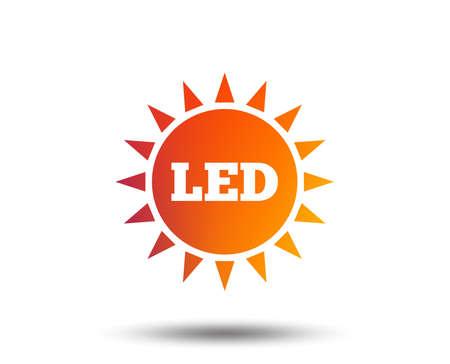 Led light sun icon. Energy symbol. Blurred gradient design element. Vivid graphic flat icon. Vector