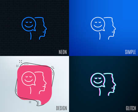 Glitch, Neon effect. Positive thinking line icon. Human communication symbol. Smile chat sign. Trendy flat geometric designs. Vector