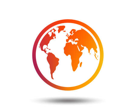Globe sign icon. World map geography symbol. Blurred gradient design element. Vivid graphic flat icon. Vector
