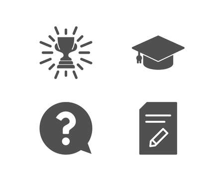 Set of Trophy, Question mark and Graduation cap icons. Edit document sign. Winner cup, Help support, University. Page with pencil.  Quality design elements. Classic style. Vector Illustration