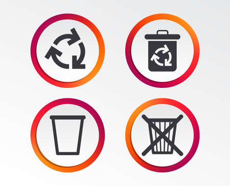 Recycle bin icons. Reuse or reduce symbols. Trash can and recycling signs. Infographic design buttons. Circle templates. Vector Ilustrace