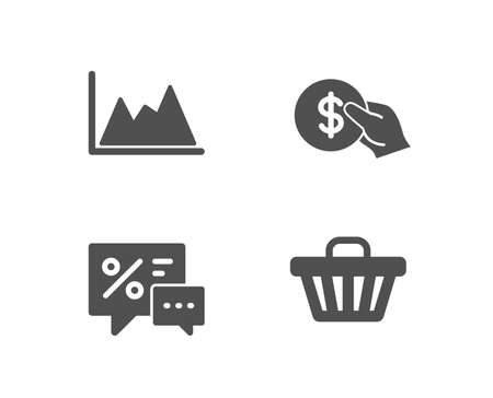 Set of Payment, Discounts and Diagram icons. Shop cart sign. Usd coin, Best offer, Growth graph. Web buying.  Quality design elements. Classic style. Vector