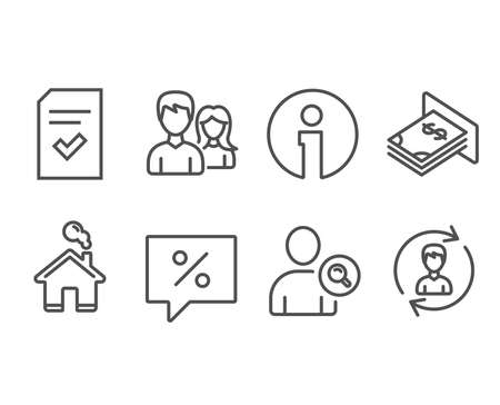 Set of Checked file, Find user and Discount message icons. Teamwork, Atm money and Human resources signs. Correct document, Search person, Special offer. Vector